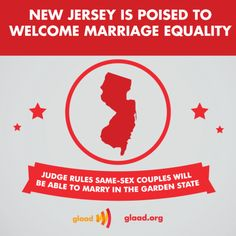Big news! Judge Mary Jacobson of the Mercer County Superior Court in New Jersey ruled that starting October 21, same-sex couples in the state can legally marry. Gov. Christie's administration has not yet commented on whether they will appeal the decision. http://www.glaad.org/blog/new-jersey-poised-welcome-marriage-equality