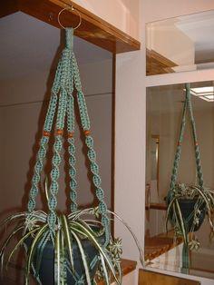 Macrame Plant Hanger SAGE 4 WALNUT BEADS by nia1031 on Etsy, $18.00