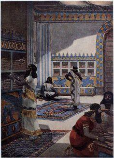Recreación de la  famosa biblioteca de  Ashurbanipal II, del siglo VIII a. C.