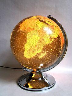 Vintage World Globe Art Deco 1950 Illuminated Glass Black Oceans Replogle