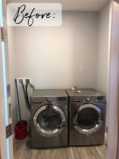 "Vinyl ""Shiplap"" Laundry Room Makeover Wall Decorations, Diy Wall Decor, Puck Lights, Types Of Lighting, Ship Lap Walls, Panel Doors, Real Wood, Cabinet Doors, Washer And Dryer"