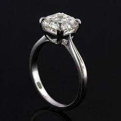 Platinum Solitaire Asscher Cut Diamond Engagement Ring by OroSpot