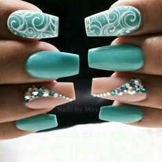 Wow get nails, how to do nails, turquoise nail designs, nails turquoise, te Teal Nail Art, Teal Nails, Bling Nails, Glitter Nails, Nails Turquoise, Pastel Blue Nails, Wow Nails, Cute Nails, Pretty Nails