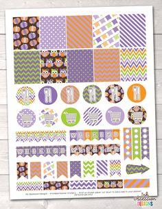 Pumpkin Owls Purple Printable Planner Stickers Weekly Kit – Instant Download PDF for your Erin Condren Life Planner