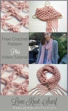 Love Knot Scarf is very lacy and delicate looking. The way it is constructed it makes a loopy, knotted design resembling diamond shapes. This Free Crochet Pattern includes Crochet Video and Photo Tutorial. Get it at Crochet Scarves, Crochet Shawl, Easy Crochet, Crochet Clothes, Crochet Stitches, Free Crochet, Crochet Vests, Crochet Cape, Knitted Shawls