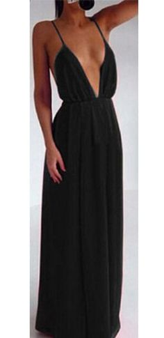 Black Deep V Plunging Neck Spaghetti Strap with Slit Leg and Open Back Prom Cocktail Maxi Party Evening Dress