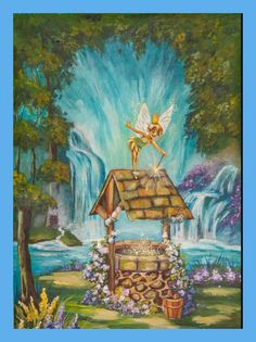 "Silvia Silvia N Rex Fedosejevs painted the ""Wishing Well"" an added a fairy. How absolutely cool is this. We can teach technique but the good ideas come from the soul of the artist painting the painting. Love this. The ""Wishing Well"" tutorial is now exclusively available for rent/ own on Vimeo and the link is on our website. (also in our Store ) https://vimeo.com/ondemand/wishingwell"