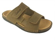 3b65ce17b1f268 Rieker 25592 Mens Adjustable Slip on Leather Sandal Summer Sandals