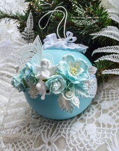 Купить украшение на елку 11 см.«Мятный ангел» - мятный, бирюзовый, белый, ангел, ангелочек
