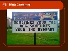 Hilarious Language Arts Powerpoint - Bad Spelling & Grammar from TeachersPayTeachers.com.  I bought it to use in ELA *and* Yearbook.