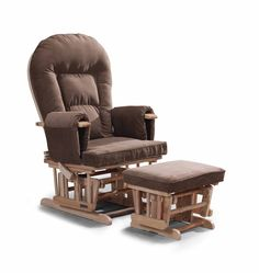 Supremo Bambino Mutterschafts-Schaukelstuhl, Pflegestuhl mit frei stehendem Schemel und Schutzabdeckung, Braun
