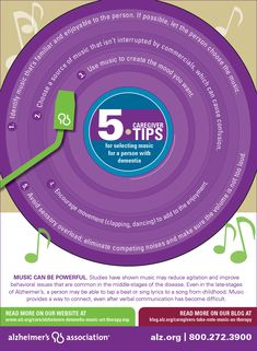 Everybody loves music! Here are 5 tips for selecting #music for a person with dementia. #alzheimers #tgen #mindcrowd www.mindcrowd.org