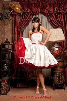Vivid Knee-length Princess Wedding Dress With Bow Tie