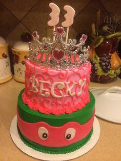 Because girls (or 33 year old women) like ninja turtles too. Princess ninja turtle cake!