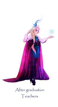 Frozen meets Harry Potter: Elsa; After Graduation becomes a Teacher at Hogwarts