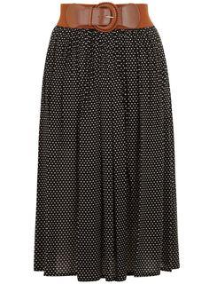 Dorothy Perkins Black Polka Dot Midi Skirt