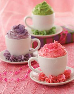 These pretty pastel teacup cupcakes are baked right in the cups and topped with fluffy marshmallow creme frosting. great idea for a high tea, girls birthday party or a kitchen tea Princess Tea Party, Princess Cupcakes, Pink Princess, Cupcake Queen, Rose Cupcake, Tea Party Cupcakes, Cupcake Cakes, Teacup Cupcakes, Teacup Cake