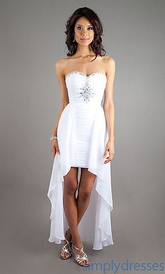 Comes in white blue and pink Strapless Sweetheart High Low Dress at SimplyDresses.com