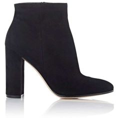Gianvito Rossi Women's Suede Side-Zip Ankle Boots (20.510 CZK) ❤ liked on Polyvore featuring shoes, boots, ankle booties, black, black ankle booties, black high heel boots, short black boots, black booties and black chunky heel booties