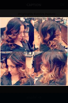 Caramel-blonde Ombré, highlights, waves, layers