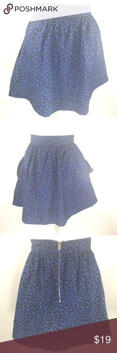 Hutch NYC Blue Leopard Skirt Size 2 Pre-loved in excellent condition. No remarkable signs of wear. Approximate measurements when flat: Waist-12.5 inches Length-17 inches. hutch Skirts Midi
