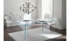 Bacco dining table is evocative of modern urban minimalism and age-old infatuation with glass. Made in Italy by Tonelli, Bacco glass dining table impresses with its perfect symmetry and linear perceptiveness while aspiring to the modern design. Contemporary Dining Room Furniture, Glass Furniture, Home Furniture, European Furniture, Italian Furniture, Dining Furniture, Table And Chair Sets, A Table, Dining Tables