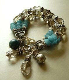 Looking Glass Bracelet with 14 mm Smokey Quartz, Angelite, and Sterling Silver