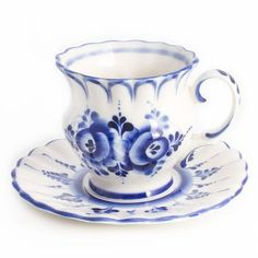 Teacup Saucer Russian White Blue Porcelain Gzhel Made in Russia Hand Painted | Home & Garden, Kitchen, Dining & Bar, Dinnerware & Serving Dishes | eBay!