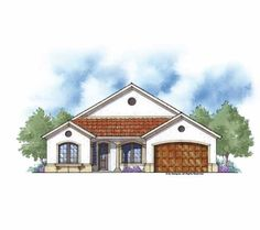 Home Plan HOMEPW27133 - 2287 Square Foot, 3 Bedroom 2 Bathroom Mediterranean Home with 2 Garage Bays | Homeplans.com