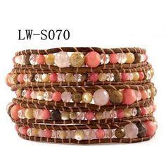 Graduated Natural Stone Beaded Handmade Leather Wrap Bracelet