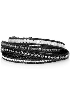 #DIY silver multi stone and leather five wrap bracelet. Orig price = $215. DIY it instead!