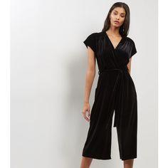 9e5bc62ee5f8 New Look Black Velvet V Neck Culotte Jumpsuit (145 SAR) ❤ liked on Polyvore