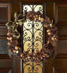 A fun pinecone and nut wreath Exerpted with permission from I'm Dreaming Of a Green Christmas (Chronicle Books) Diy Fall Wreath, Fall Wreaths, Christmas Wreaths, Christmas Decorations, Wreath Ideas, Christmas Tree Farm, Green Christmas, Christmas Stuff, Christmas Holiday