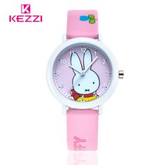 Brand KEZZI Life Waterproof Student Cartoon Watch Analog Display Leather Strap Wrist Watch Rabbit Pattern Quartz-Watch