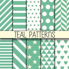 Teal patterns  Printable background Instant by babushkadesign