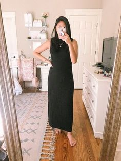Here is another amazing amazon find and it's the mock neck maxi dress. It's only $25 and fits true to size. This amazon dress is great as a fall outfit especially layered with a jean jacket or cardigan. I paired it with my favorite gold monogram necklace. // fall dresses. / Early Fall Dress, Black Maxi Dress, Affordable maxi dress. // Amazon Fashion Finds//  Little Black Dress //  Black Dress Outfit // What to buy on amazon #affordabledress #blackdress
