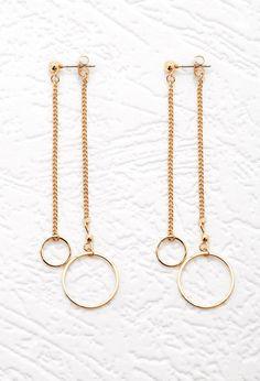 Cutout Circle Threader Earrings - Accessories - Jewellery - 1000145575 - Forever 21 UK Accessories Jewellery, Diy Jewellery Earrings, Diy Metal Earrings, Diy Chain Earrings, Diy Thread Earrings, Diy Earrings Dangle, Silver Accessories, Circle Earrings, Wire Jewelry