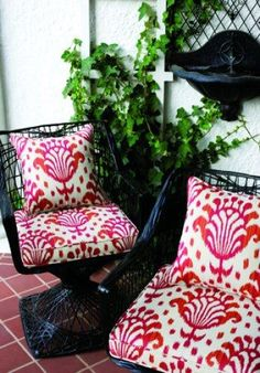 Refresh your ourtdoor seating area with a new fabric. Featured Thibaut Jubilee Thai Ikat Woven Fabric