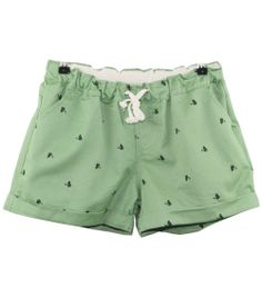 Green Drawstring Waist Cats Print Shorts - Sheinside.com #sheinside
