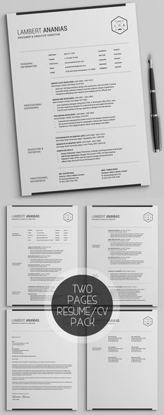Two Pages Resume CV Pack  #resume #template #2017
