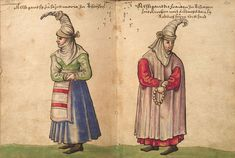Senior Basque women during the 16th century; the attire was forbidden on Pierre de Lancre's intervention in the Basque Country (1609-1612)