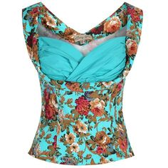 d1b9b5ab83 Lindy Bop  Dorelia  Turquoise Floral Rockabilly Top (3XL) at Amazon Women s  Clothing store