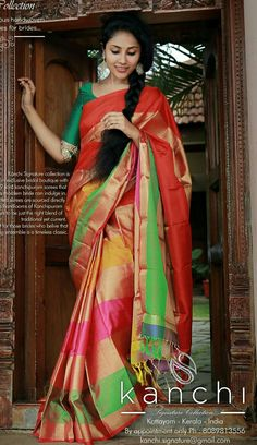 Digital Printed Bamboo Silk Saree in Multi Color. This Drape is Enhanced with Digital Print,Appealing a beautiful Latkan(tassels) Available with an Unstitched Bamboo Silk Blouse in Digital Printed. Green Silk, Pink And Green, Bollywood Party, Bollywood Girls, Sari Blouse Designs, Sari Design, Modern Saree, Soft Silk Sarees, Elegant Saree