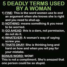 5 Deadly Terms Used By A Woman - Oh So True!!