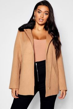 e1aa89f157b8c8 Click here to find out about the Plus Rose Zip Front Faux Fur Collar Coat  from