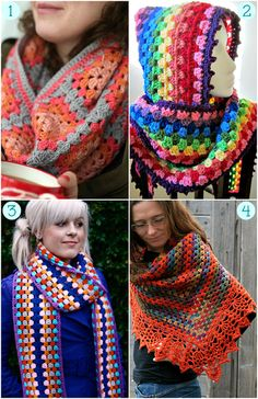 Free Granny Crochet Shawls and Scarf Patterns!  Love granny crochet!