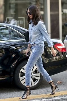 Street Style - Just how do you elevate denim on denim? Don't forget your statement heels.