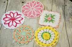 Vintage 50s Crochet Pot Holder Lot Retro Mid by SycamoreVintage