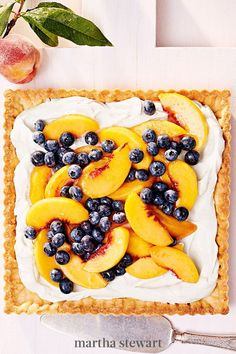 This peach and blueberry topped tart gets a little tang from the luscious cream cheese filling, a play on the iconic peaches and cream combo, and a crisp outer texture from its buttery tart shell. #marthastewart #recipes #recipeideas #dessert #dessertrecipes Tart Recipes, Fruit Recipes, Dessert Recipes, Cooking Recipes, Fruit Dessert, Delicious Recipes, Dessert Tarts, Recipies, Dessert Pizza