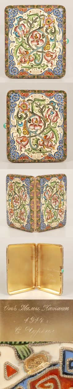 A Russian gilded silver and shaded enamel cloisonne cigarette case, attributed to Feodor Ruckert, Moscow, circa 1896-1908. Both sides decorated with scrolling florals on an cream and olive green ground. Dated on the interior 1914